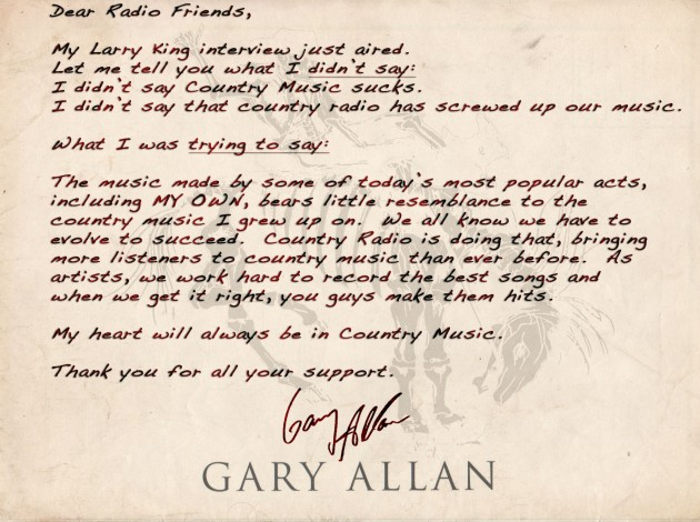 Gary allan apology letter