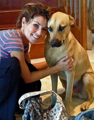 Shania Twain and  pup