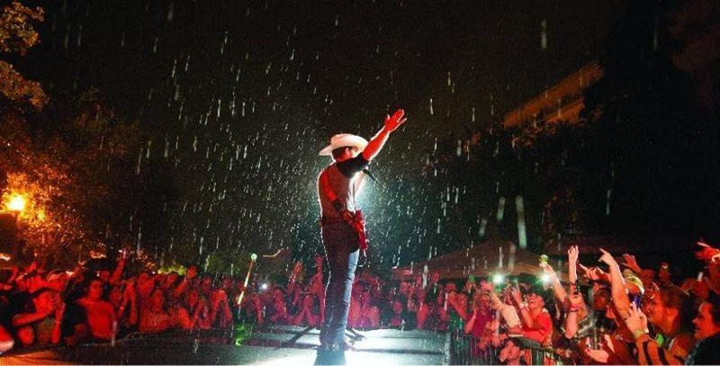 Justin in the rain