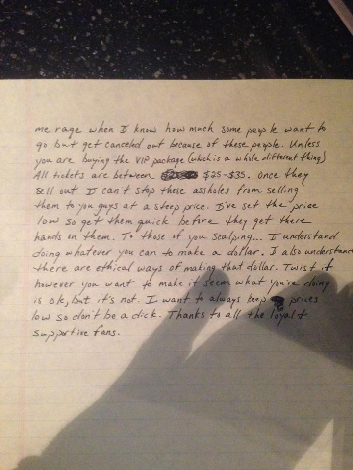 Kip Moore handwritten note page 1