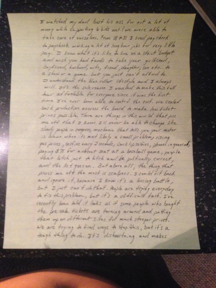 Kip Moore handwritten note page 2