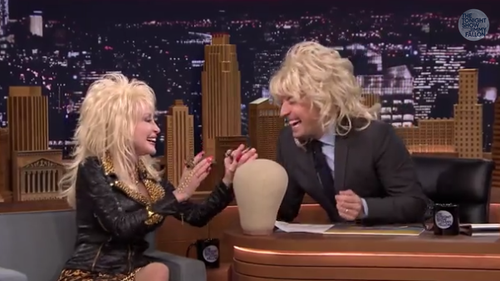 Dolly Parton Jimmy Fallon wig